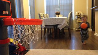 Toddler Makes Every Basketball Shot - Video