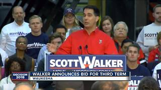 Hundreds protest outside Walker campaign announcement - Video
