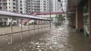 Residential estate completely flooded after Typhoon Mangkhut's historical rainfall in Hong Kong