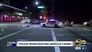 Police investigate crash in downtown Phoenix - Video