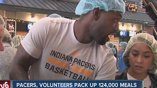 Pacers, volunteers pack up 124,000 meals for the Million Meal Movement - Video