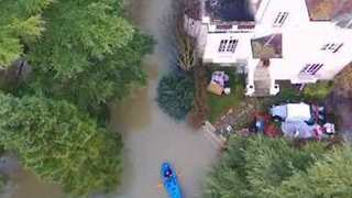 Kayaker Sends Up Drone as He Paddles Through Floods Near Paris - Video