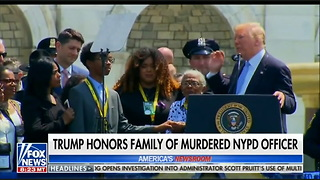 Trump Honors Slain Cop, Family and Partner Join Emotional Speech