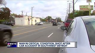 Man shot after car accident in southwest Detroit - Video