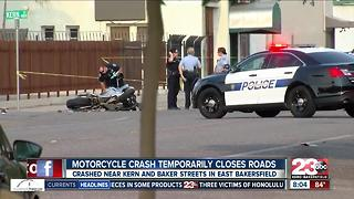 Vehicle vs. motorcycle crash in east Bakersfield sends man to the hospital with moderate injuries - Video