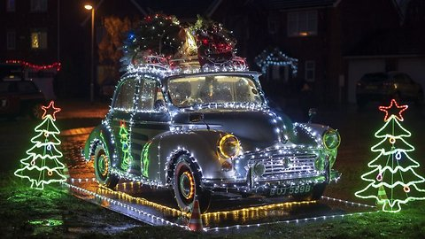 Man inspired by iconic Coca-Cola Christmas truck covers classic car in 10,000 fairy lights – but now he can't drive it