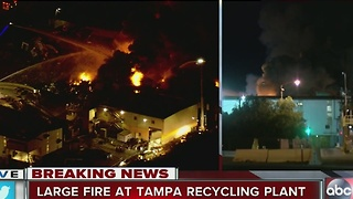 Large fire burning at Trademark Metals and Recycling near Port of Tampa - Video