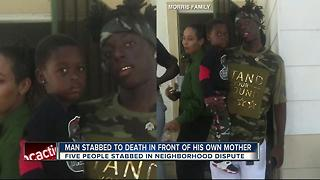 Man stabbed to death in front of his mother - Video