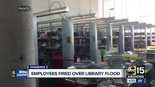 Employees fired over library flood - Video