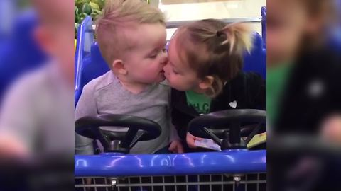 Toddler Kiss In A Toy Car