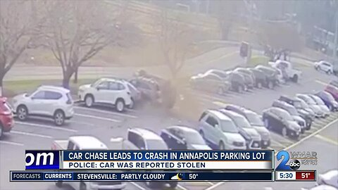 Car chase leads to crash in Annapolis parking lot