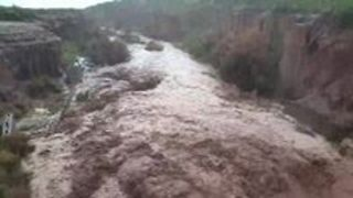 New Mexico Monsoon Turns Creek into Raging Torrent - Video