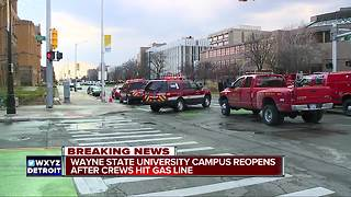 Gas main break capped at Wayne State University in Detroit, campus reopened - Video