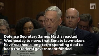 Secretary Mattis Responds After Senate Reaches Spending Deal Worth Nearly $400 Billion - Video