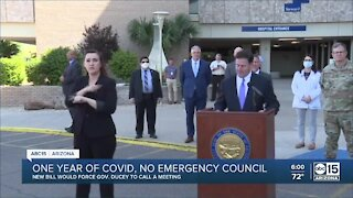 Bill would require Governor Ducey to convene Statewide Emergency Council