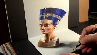 How to draw a 3D bust of Nefertiti - Video