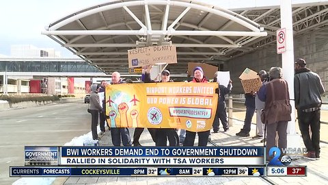 BWI Airport workers rally to end the shutdown in solidarity with TSA Workers