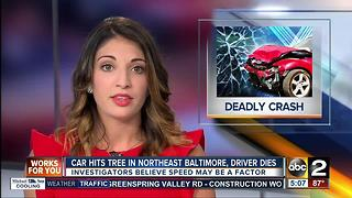 Car hits tree in NE Baltimore, driver dies - Video