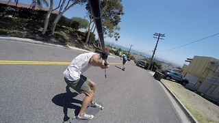 Epic POV footage of downhill skateboard run
