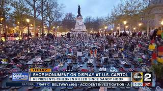 Shoe monument on display at U.S. Capitol today