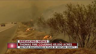 Thomas Fire burning near 101 freeway - Video
