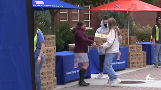 Idaho Foodbank distributing food boxes at Boise State Tuesday