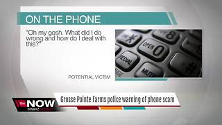 Grosse Pointe Farms police warning of phone scam - Video