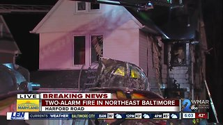 Crews battled early morning 2-alarm house fire in Northeast Baltimore
