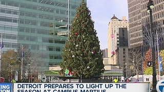 Detroit prepares to Light Up the Season at Campus Martius Park - Video