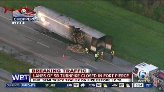 Semi catches fire on the Turnpike southbound in St. Lucie County