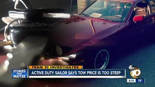 Active duty sailor says tow price is too steep - Video