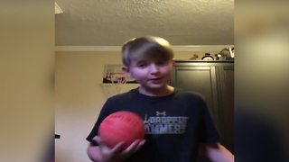 Dad Scares Boy While He's Filming Basketball Tutorial - Video