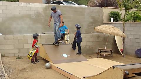 Dad Tries Out A New Skating Ramp With His Boys