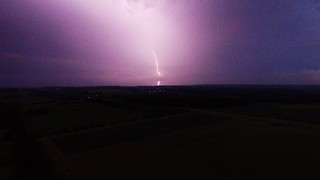 Dramatic lightning storm captured by high altitude drone - Video