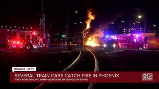 Train car catches fire in downtown Phoenix