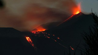 Mount Etna Night-Time Eruption - Video