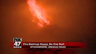 Massive late night fire destroys home in Stockbridge - Video
