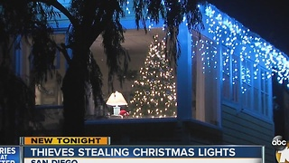 thieves stealing christmas lights video