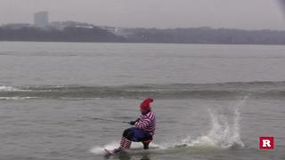 Santa Claus Goes Waterskiing - Video