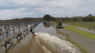 Drone Shows Wakeboarder Gliding Across Flooded Vineyard - Video