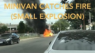 Minivan Catches Fire in South Los Angeles - Video