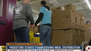 Attitude of gratitude as Freestore Foodbank starts giving out Thanksgiving meals - Video
