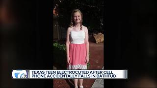 Texas teen electrocuted after cell phone accidentally falls into bathtub - Video