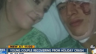 Young couple recovering from holiday crash