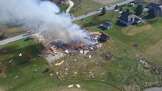 Drone captures aerial video of home explosion in Owen County, Indiana - Video