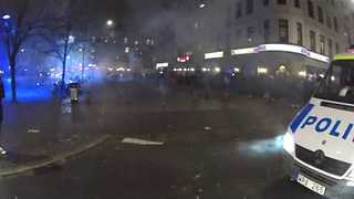 Fireworks In Crowded Square in Malmo - Video