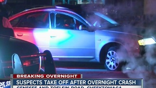Police looking for suspects after overnight crash - Video