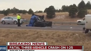One person dead in three-vehicle crash on I-25 in Douglas County - Video