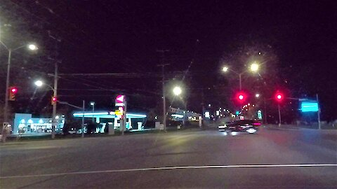 Red light runner is on a late night donut run!