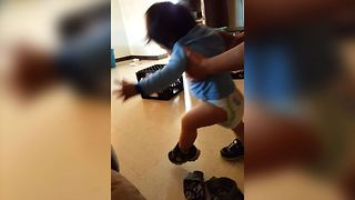 Baby Learns To Walk With Shoes - Video